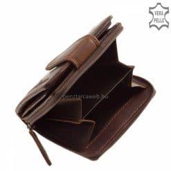 bőr női pénztárca valódi bőrből készült kisméretű modell barna színben op181
