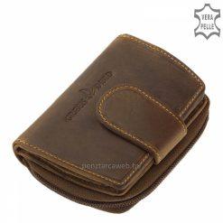 bőr női pénztárca valódi bőrből készült kisméretű modell barna színben OP3203