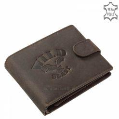 Puha tapintással rendelkező, valódi minőségi bőr felhasználásával gyártott mintás barna színű férfi pénztárca. Stílusos díszdobozban.