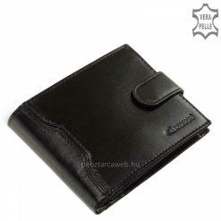 Elegáns selyemfényű valódi bőr felhasználásával gyártott minőségi férfi pénztárca, fekete színben kifejezetten férfiaknak tervezve.
