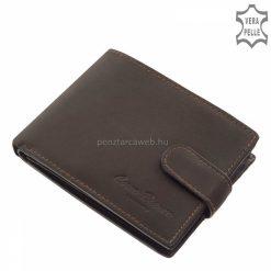 Praktikus külső átkapcsolóval gyártott minőségi, valódi bőr férfi pénztárca, klasszikus barna színű külsővel. Fedelén igényes márkajelzéssel.