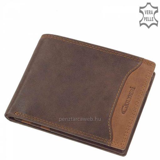Nagyobb mérettel rendelkező Giultieri márkájú barna színű minőségi férfi bőr pénztárca a SLIM kategóriából, külső átkapcsoló pánt nélkül.