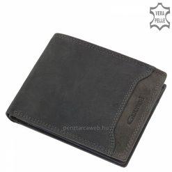 Farzsebbe illő, sportos egyszerűbb belső elrendezéssel gyártott fekete szürke, valódi bőr férfi pénztárca, a minőségi Giultieri márkacsaládtól