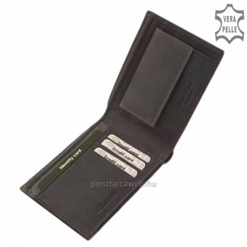 Nagyobb mérettel rendelkező Giultieri márkájú fekete szürke színű minőségi férfi bőr pénztárca a SLIM kategóriából, külső átkapcsoló nélkül.
