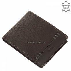 Divatos megjelenésű, valódi minőségi bőrből készült Vester férfi bőr pénztárca, fekete fedelét különleges, bőrszalaggal varrt design díszíti.