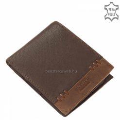 Divatos megjelenésű, valódi minőségi bőrből készült Vester férfi bőr pénztárca, sötétbarna fedelét, bőrszalaggal varrt design díszíti.