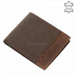 A divatos férfi pénztárca bőre valódi minőségi bőr, mely kétféle technológiával készült, fekete valamint sötétbarna színben.