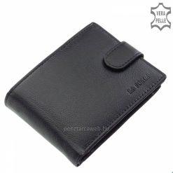 Kellemes tapintással rendelkező, fekete színű LA SCALA márkájú, minőségi férfi bőr pénztárca valódi bőrből. Külső patentos átkapcsolóval.