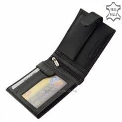 Minőségi valódi bőr felhasználásával készült férfi pénztárca modell, melyet fekete színű kivitelben kínálunk. Fedelén LA SCALA márka logóval.