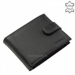 Praktikus elrendezésű, hagyományos fekete színű, klasszikus férfi bőr pénztárca modell valódi bőrből, strapabíró használhatóságot biztosít.
