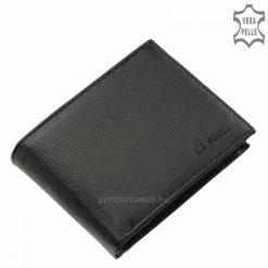 Praktikus belső elrendezéssel rendelkező fekete, valódi bőr férfi pénztárca modell, mely kényelmes helyet nyújt készpénzünk, kártyáink számára