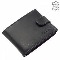 Puha tapintású, finom nappa bőrből készült klasszikus férfi bőr pénztárca, sok kártyatartóval és belső átkapcsolóval gyártva, fekete színben.