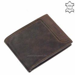 Giultieri márkás sportos jellegű, szépen kidolgozott valódi bőr férfi pénztárca barna színben, mely akár farzsebben is hordható.