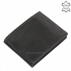 Kiváló, minőségi, kétféle valódi bőrből gyártott, divatos férfi bőr pénztárca fekete színben a Giultieri termékcsaládból. Díszdobozos modell!