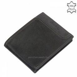 Giultieri márkás sportos jellegű, szépen kidolgozott valódi bőr férfi pénztárca fekete színben, mely akár farzsebben is hordható.
