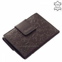 Kellemes tapintású, valódi bőrből készült női bőr pénztárca fekete színben, melynek külsejét ízléses virág mintás motívum díszíti.