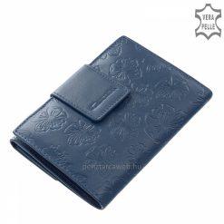 Kis méretű, valódi bőrből készült praktikus női bőr pénztárca kék színben, melynek külsejét ízléses virág mintás motívum díszíti.