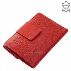 Divatos piros színű, valódi bőrből készült női bőr pénztárca, melynek külsejét egyedi virág mintás motívum díszíti. Külső átkapcsolóval.