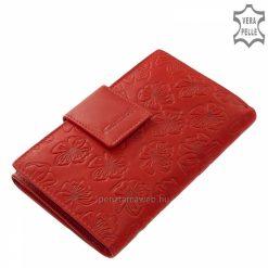 Nagy méretű, valódi bőrből készült női bőr pénztárca divatos virágmintázattal piros színben, mely Giultieri kollekciónk egyik legújabb terméke