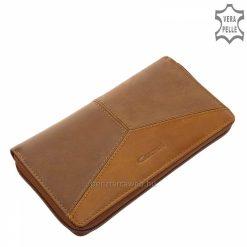Nagy méretű, két színű bőrből tervezett női bőr pénztárca, mely minőségi Giultieri termékcsaládunk egyik legújabb barna színű darabja.