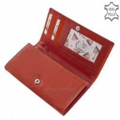 Valódi, minőségi, két színű bőrből megtervezett piros női bőr divat pénztárca, nagy méretű így minden iratunk és értékünk egyaránt elfér.