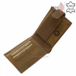 Minőségi, valódi vastag bőrből, egyedi sportos designnal készített, GreenDeed barna színű RFID férfi bőr pénztárca, dekoratív megjelenéssel.