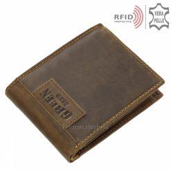 Barna színben készült valódi bőr férfi pénztárca modell, mely kimondottan praktikus elrendezésű, a tárca rendelkezik RFID védelemmel is.