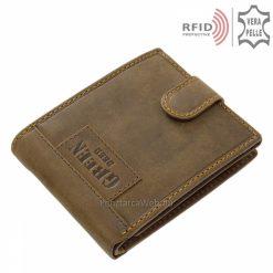 Ajándékba is kitűnő díszdobozba csomagolva minőségi, barna színű igazi bőrből gyártott, egyedi vintage RFID férfi bőr pénztárca.