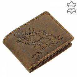 Rusztikus barna színű valódi bőrből készült vadász mintás férfi bőr pénztárca a GreenDeed márkacsaládtól vadászoknak tervezve.