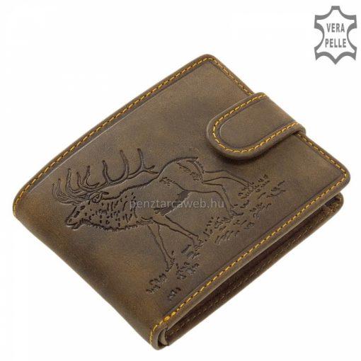 Barna bőrből készült, kisméretű férfi bőr pénztárca szarvasmintával a prémium minőségű GreenDeed márkacsaládtól vadász vásárlóinknak.