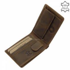 Rusztikus barna színű bőrből készült GreenDeed márkájú, elegáns kisméretű férfi bőr pénztárca vadász vásárlóinknak tervezve, díszdobozban.