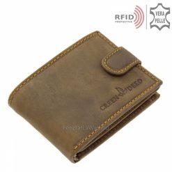 barna színű díszdobozos férfi bőr pénztárca