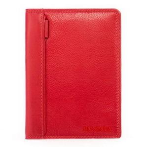 Kiváló minőségű színes nappa bőr női irattartó pénztárca népszerű piros színben, egyedi piros díszítéssel, kártyatartós belsővel.