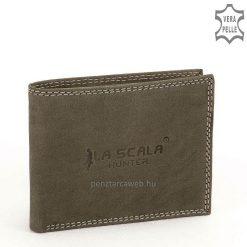 LA SCALA elegáns logóval díszített egyszerű, hagyományos kialakítású férfi bőr pénztárca szürke színben, ajándékba is kitűnő választás.