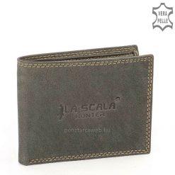 LA SCALA márkajelzésű, egyedileg tervezett logóval díszített kis méretű férfi bőr pénztárca valódi, minőségi bőrből zöld színben.