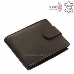 A férfi bőr pénztárca igazi marhabőrből készült, klasszikus barna színben gyártott, RFID védelemmel rendelkező modell. Gyártói garanciával!