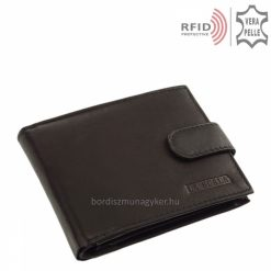 Klasszikus megjelenésű, puha tapintású, La Scala márkás hagyományos fekete színű férfi bőr pénztárca valódi bőrből, RFID védelemmel.