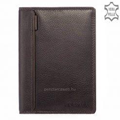 Minőségi marha nappa bőr, hagyományos férfi irattartó pénztárca LA SCALA márkajelzéssel elegáns barna színben, világosbarna díszítéssel.