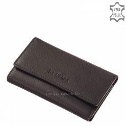 Praktikus, könnyű felhasználást biztosító La Scala fekete bőr kulcstartó modell, mely minőségi, finom tapintású valódi nappa bőrből készült.