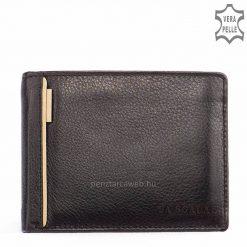Hagyományos elrendezésű férfi bőr pénztárca kiváló minőségű puha nappa bőrből klasszikus fekete színben és beige díszítéssel.