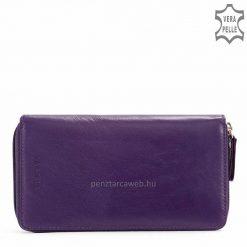 Kiváló minőségű marha nappa bőr női pénztárca klasszikus LA SCALA márkajelzéssel, népszerű lila színben, nagyobb méretű modell.