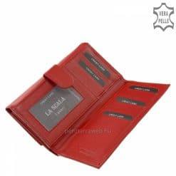 Nagyon finom, kellemes tapintású, valódi minőségi nappa bőrből készült nagy méretű, piros női bőr pénztárca LA SCALA márkanévvel.