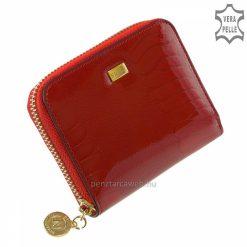 Igényesen kidolgozott Croco mintás piros színű, kisméretű, kívül cipzáras női lakk bőr kártyatartó a NICOLE termékcsaládból.