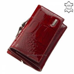 Csodálatos piros színben készített, kisebb méretű, mintás felületű, minőségi női divat pénztárca modell, minden női táskában kényelmesen elfér