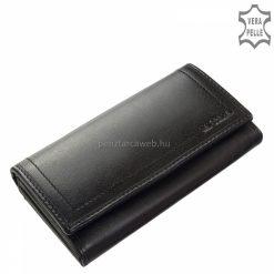 Szolidan dekoratív külső díszvarrásos egyedi dizájnnal tervezett nagy méretű fekete női bőr pénztárca, kiváló minőségű igazi bőrből gyártva.
