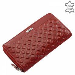 Precízen kidolgozott, elegáns piros valódi dombornyomott mintás bőr alapanyagból készült egyedi női pénztárca a Giultieri termékcsaládtól.