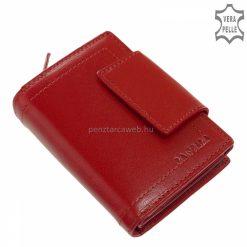 Piros színű, minőségi valódi bőrből készült kis méretű női bőr pénztárca íves átkapcsolóval, mely La Scala termékcsaládunk elegáns darabja.