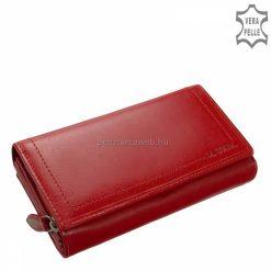 Valódi bőrből készült nagy méretű női bőr pénztárca, mely minőségi La Scala kollekciónk egyik elegáns, piros színben gyártott terméke.