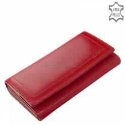 Szolidan dekoratív külső díszvarrásos egyedi dizájnnal tervezett nagy méretű piros női bőr pénztárca, kiváló minőségű igazi bőrből gyártva.