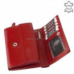 Kis méretű, belső elrendezését tekintve könnyen átlátható valódi bőrből gyártott elegáns piros színű női bőr pénztárca modell.
